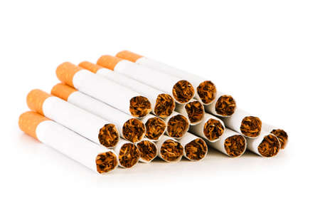 quiting: Smoking cigarettes isolated on the white background Stock Photo