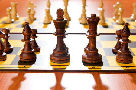Set of chess figures on the playing board Stock Photo - 7228965