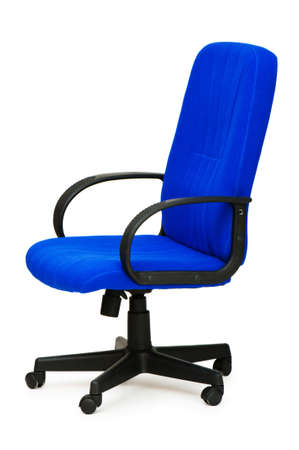 wheel chair: Blue office chair isolated on the white Stock Photo