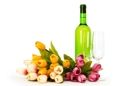 Wine and flowers isolated on the white background Stock Photo - 7228814