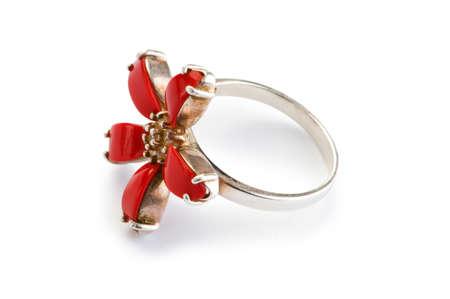 Jewellery ring isolated on the white background photo