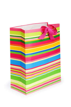 Striped gift bag isolated on the white background Stock Photo - 7297012