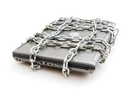 Computer security concept with laptop and chain photo