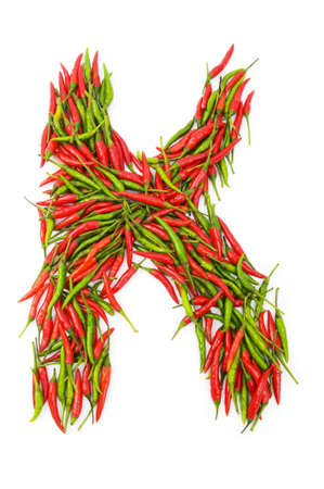 Alphabet with green and red peppers - letter  photo