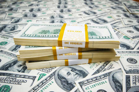 Stack of dollars on money background Stock Photo - 7349221