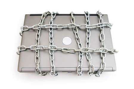 netbook: Computer security concept with laptop and chain