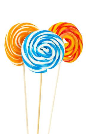 paletas de caramelo: Lollipop colorido aislado en el fondo blanco
