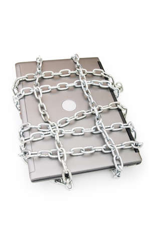 Computer security concept with laptop and chain Stock Photo - 7440638