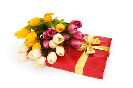 Giftbox and flowers isolated on the white background Stock Photo - 7440662