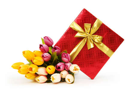Giftbox and flowers isolated on the white background Stock Photo - 7440696