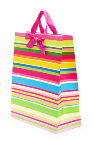 Striped gift bag isolated on the white background Stock Photo - 7518241