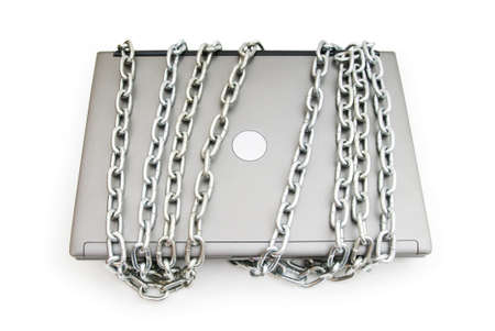 Computer security concept with laptop and chain Stock Photo - 7518375