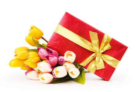 Giftbox and flowers isolated on the white background Stock Photo - 7518489