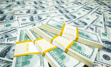 Stack of dollars on money background Stock Photo - 7518348