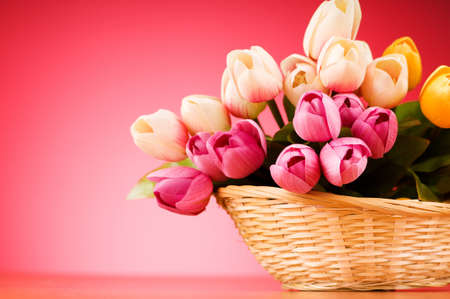 Bunch of tulip flowers on the table Stock Photo - 7518470