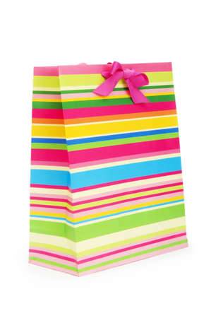Striped gift bag isolated on the white background Stock Photo - 7546394