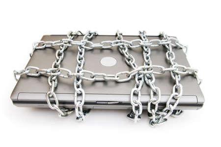개인 정보 보호: 노트북 및 체인 컴퓨터 보안 개념