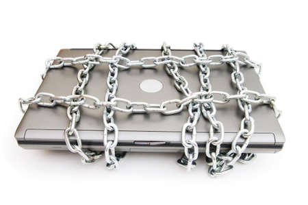 Computer security concept with laptop and chain Stock Photo - 7546305