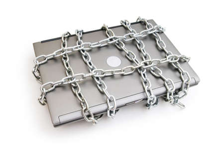 security equipment: Computer security concept with laptop and chain