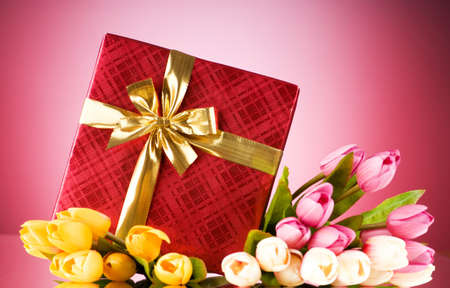 Celebration concept - gift box and tulip flowers Stock Photo - 7597388