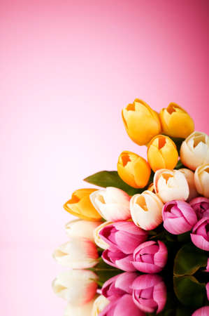 Bouquet of colorful tulips on the table Stock Photo - 7597403