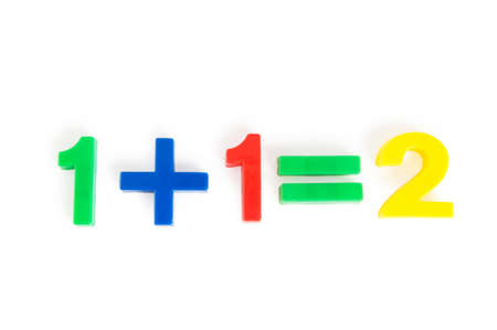 numeracy: Simple math example with numbers on the table