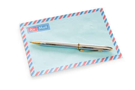 Mail concept with many envelopes on the table photo