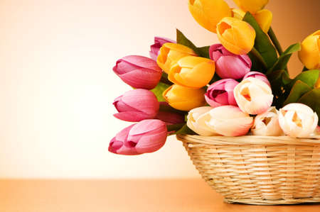 Bunch of tulip flowers on the table Stock Photo - 7634706