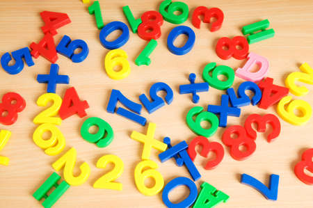 Children letters and digits on the table Stock Photo - 7634770