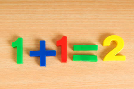 Simple math example with numbers on the table photo