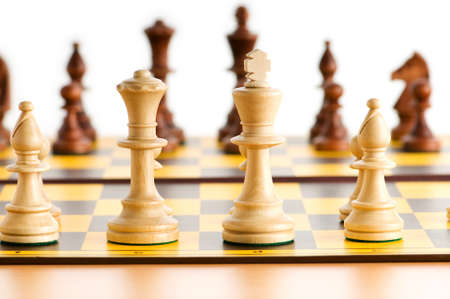 Set of chess figures on the playing board  photo