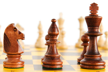 Set of chess figures on the playing board Stock Photo - 7634838
