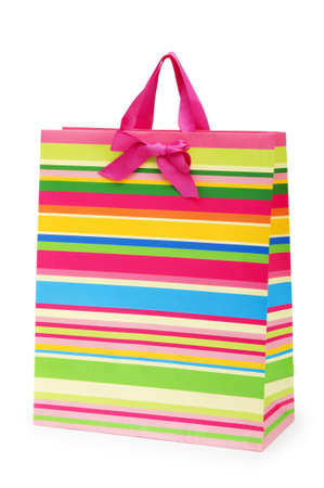 Striped gift bag isolated on the white background Stock Photo - 7664544