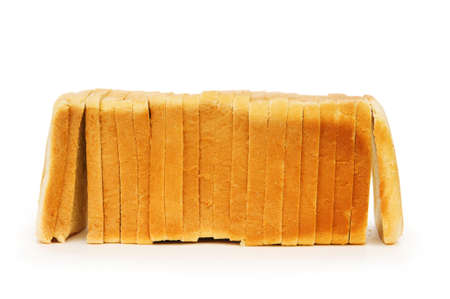 wheat toast: Sliced bread isolated on the white background Stock Photo