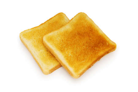 burnt toast: Sliced bread isolated on the white background Stock Photo