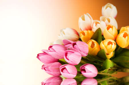 Bouquet of colorful tulips on the table Stock Photo - 7664562