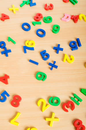 Children letters and digits on the table Stock Photo - 7664906