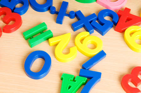 Children letters and digits on the table Stock Photo - 7814127