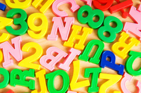 Children letters and digits on the table Stock Photo - 7814816