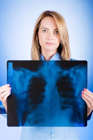 Female doctor carefully x-ray of patient Stock Photo - 7851166