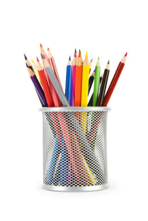 colored pencil: Various colour pencils isolated on the white  Stock Photo