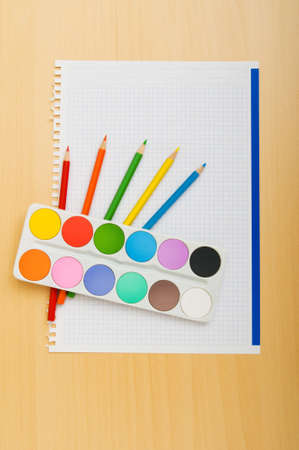 Art concept with painters palette and paint brush Stock Photo - 7915058