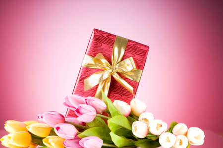 Celebration concept - gift box and tulip flowers Stock Photo - 7915208