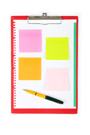 Open binder with reminder notes and blank page  Stock Photo - 7914594