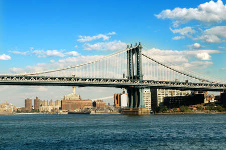 Brooklyn bridge in New York on bright summer day photo