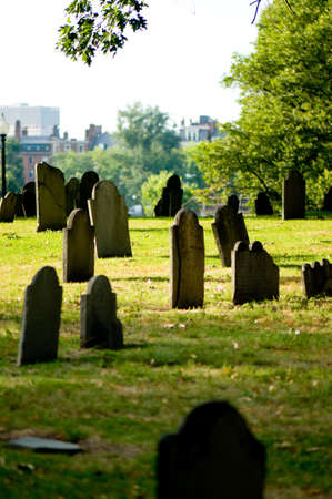 Cemetery with many tombstones on the bright day photo