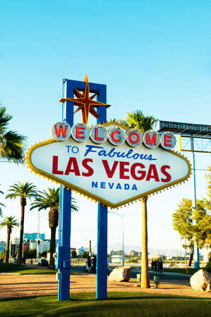Famous Las Vegas sign on bright sunny day photo