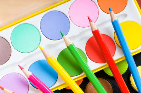 Art concept with painters palette and paint brush Stock Photo - 8054853