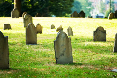 afterlife: Cemetery with many tombstones on the bright day