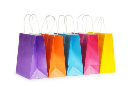 白い背景で隔離の買い物袋